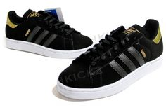 the latest e3f13 10c9c ADIDAS Campus II Black   Gold Designed for basketball, immortalized by  hip-hop, the adidas Campus shoes go from court to street with authoritative  style.