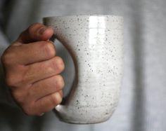 Antique White Mug-glove Handwarmer Mug - handmade wheelthrown pottery