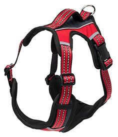 No Pull Dog Harness Reflective Windproof Lightweight Padded with Handle Red Large ** Find out more details @