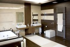 Modern wooden bathroom design ideas can apply to your room and get trendy and stylish decor for the interior, read the latest design ideas and view extensive images of every room. Dark Wood Bathroom, Small Bathroom Interior, Modern White Bathroom, Brown Bathroom, Modern Bathroom Decor, Beautiful Bathrooms, Bathroom Designs, Bathroom Ideas, Modern Bathrooms