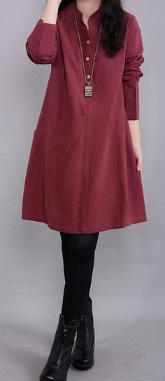 Women loose fit plus size dress red tunic long sleeve fashion casual chic #unbranded