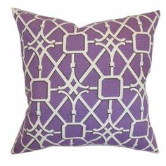 "Cotton pillow with down fill and a latticework motif. Made in the USA.    Product: PillowConstruction Material: Cotton cover and 95/5 down fillColor: PurpleFeatures:  Insert includedHidden zipper closureMade in the USA Dimensions: 18"" x 18""Cleaning and Care: Spot clean"