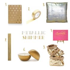 #Metallic Shimmer. #Gold products and homewares for the new year. More on the RSD Blog. #washi #uashmama #calendar #cushion #brass #candle #ruler