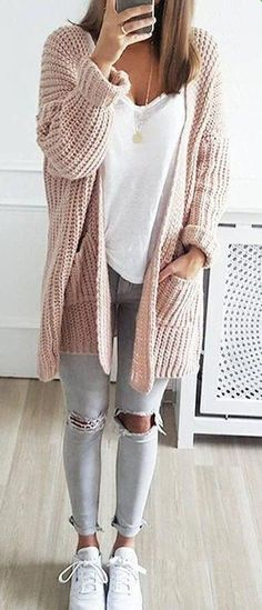 cute and casual winter outfit ideas for school - styling - # . - cute and casual winter outfit ideas for school – styling – # casual - Casual Winter Outfits, Casual School Outfits, Cute Fall Outfits, Stylish Outfits, Cute Cardigan Outfits, Casual Fall, Cute Fall Clothes, Dress Casual, Casual Weekend