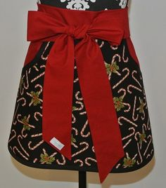 Candy Cane with Holly trimmed in Red Adult Half Apron by LizzysBiz, $24.00