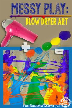 Blow dryer art is the perfect messy play to begin your sensory art journey! Plus, it's a lot of fun for kids.
