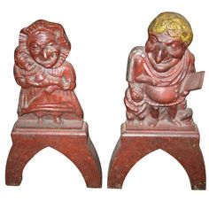 Punch and Judy Iron Andirons  USA, Early 20ths