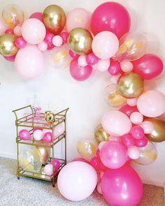 Balloon Arch Diy Discover Flamingo Balloon Garland Kit Balloon Garlands Tropical Bachelorette Hot Pink and Gold Fuchsia Balloon Garland Lets Flamingle Gold Party Decorations, Balloon Decorations, Birthday Party Decorations, Birthday Parties, Balloon Table Centerpieces, Balloon Arch Diy, Balloon Garland, Balloon Balloon, Ballon Rose
