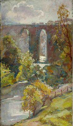"Florence St John Cadell, 'Glenfinnan Viaduct' (Oil on canvas, 42"" x 24"") http://www.panterandhall.com/Scottish-Show-2014-Gallery.aspx"