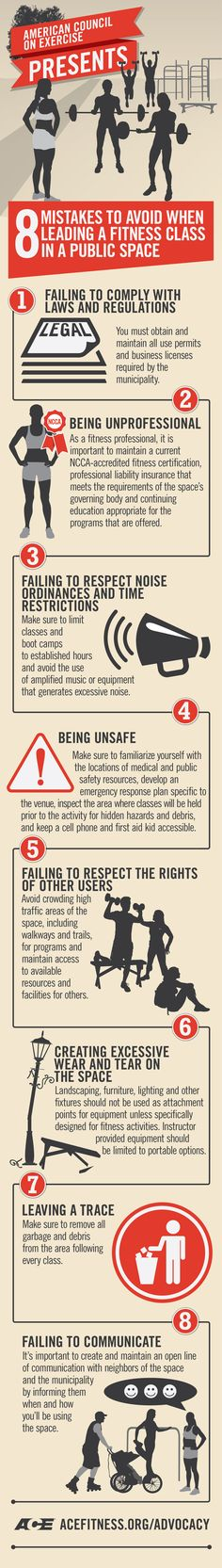 8 Mistakes to Avoid When Leading a Fitness Class in a Public Space personal trainer mistakes Coach Fitness, Group Fitness, Fitness Studio, Personal Fitness, Personal Trainer, Trauma, Fitness Infographic, Gym Design, Sports Nutrition