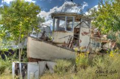 Old boat left in the grass near Port Norris, (Cumberland County), NJ <3