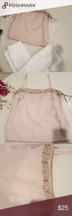 Top Blush crush color adorned detail with delicate beading and shimmering thread take Center Stage for this date night top. NWT purchased from Willow and Clay.  100% polyester lining; 100% cotton Willow & Clay Tops Tank Tops