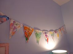 one-of-a-kind bunting made from artwork