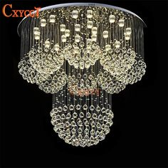 Large Modern LED K9 Crystal Chandelier Light Fixture