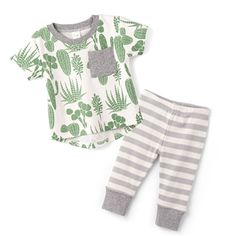 This southwest cactus themed baby top and matching bloomers is perfect for warmer weather!