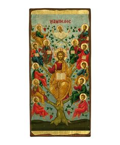The Vine tree - Aged Byzantine Icon Reproduction - Christianity Art Byzantine Icons, Client Gifts, Religious Icons, Natural Wood, Jesus Christ, Christianity, Vines, Age, Canvas