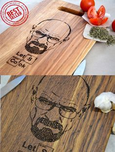 Breaking Bad Custom Engraved Cutting Board Light Brown Let's Cook Anniversary Gift Mother's Day Personalized. Gift idea. Heisenberg (20.95 USD) by EnjoyTheWood