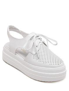 Hollow Out Slingback Lace-Up Platform Shoes WHITE: Platforms | ZAFUL