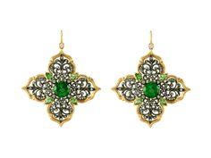 Large Lotus Earrings with Green Tourmaline - 22 Karat by Arman, at Ylang   23