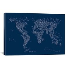 iCanvas Michael Thompsett Font World Map (Blue) Canvas Print Wall Art