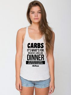 Vegan Racerback Tank, Carbs It's What's for Breakfast, Lunch, and Dinner