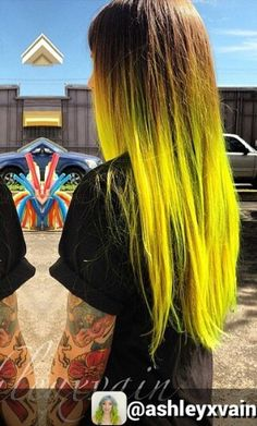 Neon ombre dyed hair color