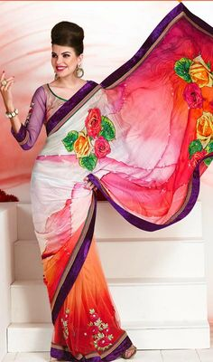 Multicolored Digital Printed Party Wear Saree Price: Usa Dollar $149, British UK Pound £88, Euro110, Canada CA$162 , Indian Rs8046.