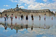 Miroir d'eau devant la place de la Bourse à Bordeaux Find Super Cheap International Flights to Bordeaux, France ✈✈✈ https://thedecisionmoment.com/cheap-flights-to-europe-france-bordeaux/