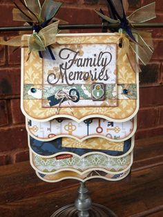 Premade Family Cascading Scrapbook Mini Album 10 Pages Stand Not Included