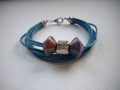Teal Blue Leather Multi Strand Bracelet with by DesignsbyPattiLynn, $50.00