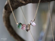Watermelon Tourmaline Crystals in Goldfilled by ATELIERGabyMarcos, $65.00