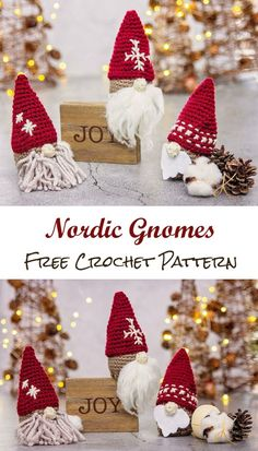 Learn how to crochet these cute little Nordic gnomes for Christmas using a free crochet pattern with step by step video tutorial. Crochet Christmas Decorations, Crochet Christmas Ornaments, Christmas Crochet Patterns, Holiday Crochet, Christmas Knitting, Christmas Crafts, Crochet Amigurumi Free Patterns, Free Crochet, Crochet Stitches For Beginners