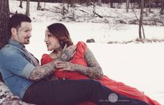Maternity photo by Carly Bartosh, her work is amazing. Pregnancy pictures at almost 8 months. Love how she captured our tattoos. It was a tad cold but well worth it! Snow still on the ground :)