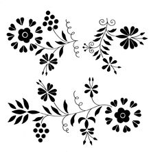 kalocsai Flower Embroidery Designs, Embroidery Stitches, Embroidery Patterns, Stencil Patterns, Color Patterns, Flower Silhouette, Decoupage, Vector Pattern, Flower Crafts