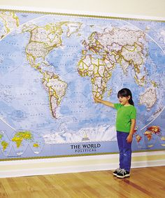 Where in the world is...?  National Geographic's Large World Classic Laminated Map available at #zulily.  #fall
