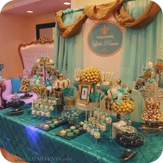 Royal Candy Buffet, Little Prince Baby Shower, Royal Prince Baby Shower, Teal and gold, Welcome little prince