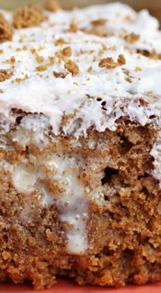 Gingerbread Caramel Poke Cake ~ A delicious and moist gingerbread cake filled with caramel flavor and topped with whipped cream