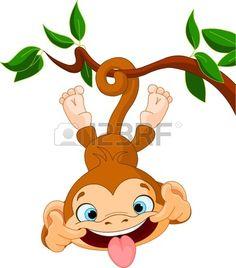 Cute baby monkey Hamming auf einem Baum Perfekt für April Fools