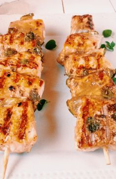 salmon and lime skewers marinated in mustard, chili, mint, Worcestershire, cumin and sesame seeds