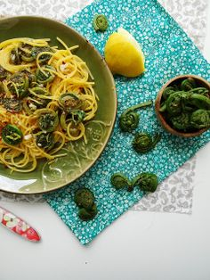 Fiddlehead pasta --- it's that time of year in Vermont....