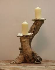 Image result for home made wooden candle holders