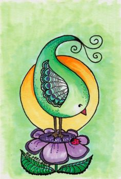 Postcard x inches, 6 grams, very good quality card of a sweet little birdie in green, yellow and purple. It shows a whimsical, little Bird Drawings, Doodle Drawings, Easy Drawings, Doodle Art, Love Birds Painting, Artist Painting, Arte Country, Watercolor Cards, Whimsical Art