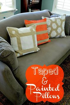 Easy Decorating DIY -- Make Taped and Painted Pillows in ANY Pattern!! Tatertots and Jello #DIY