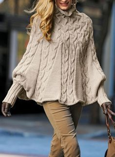 Hand Knit Turtleneck Poncho with sleeves from Alpaca blend yarn .Made to order - Poncho stricken Poncho Knitting Patterns, Knitted Poncho, Hand Knitting, Poncho Sweater, Vogue Knitting, Knit Shrug, Knitting Sweaters, Cable Knitting, Cable Sweater