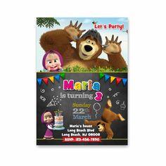 Masha y el oso invitaciones Masha cumpleaños por AnniePaperShop