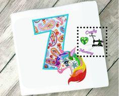 Girls 7th Birthday Applique Design - Rainbow Unicorn Birthday Design - Rainbow Unicorn Applique Design - Rainbow Applique Design - Seventh by CraftyHooahMommy on Etsy
