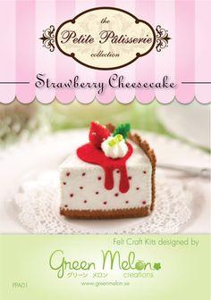 Strawberry Cheesecake felt food craft kit (diy felt cake dessert). $9.95, via Etsy.