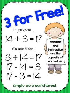 3 for Free Poster - teaching addition and subtraction links....