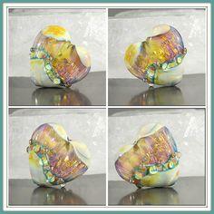 Pleated lampwork heart bead