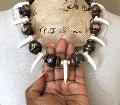 Wood Bead Necklace Men Chunky Bone Bead Necklace Black | Etsy